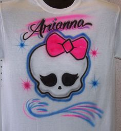 Girlie Skull Monster  Airbrush T shirt personalized Airbrushed youth and adult sizes