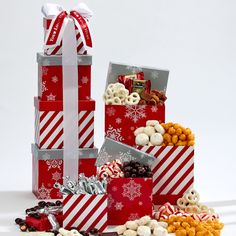 Beautiful combination gift towers with customized items foods and snacks. Corporate Christmas Gifts, Holiday Gifts, Christmas Holiday, Holiday Decor, White Chocolate Covered Pretzels, Chocolate Truffles, Corporate Gift Baskets, Corporate Gifts, Almond Butter Cookies
