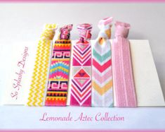 Party favors hair ties jewelry and accessories by SoSplashyDesigns Ribbon Hair Ties, Elastic Hair Ties, No Crease Hair Ties, Ponytail Holders, Hair Tools, Gifts For Girls, Lemonade, Aztec, Party Favors