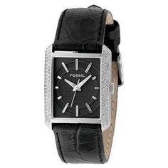 Fossil Women's FS4417 Black Leather Crystal Watch $71.99
