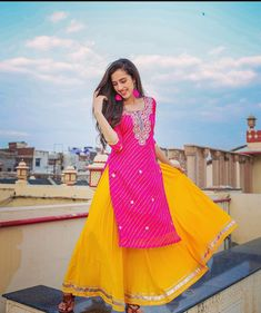 Indian Fashion Dresses, Indian Designer Outfits, Indian Outfits, Frock Fashion, Pakistani Dresses, Fashion Outfits, Yellow Skirt Outfits, Long Skirt Outfits, Yellow Dress