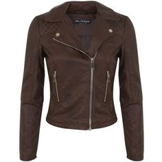 Miss Selfridge Brown Faux Leather Biker Jacket (58 CAD) ❤ liked on Polyvore featuring outerwear, jackets, leather jackets, tops, coats, mid brown, vegan motorcycle jacket, stitch jacket, moto jacket and fake leather jacket