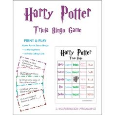 Harry Potter Trivia Bingo