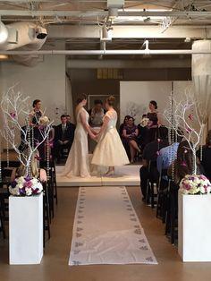 Wedding Ceremony | 360 Seating | Same Sex Marriage | Manzanita Branches | Aisle Runner | Hanging Candles