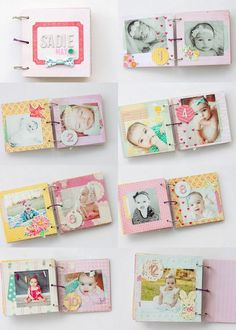 A 2014 Baby Design by Erin Stewart -- YES. Love the simplicity to just show growth, but still so stinkin' cute. Mini Album Scrapbook, Photo Album Scrapbooking, Baby Scrapbook, Baby Mini Album, Paper Crafts Magazine, American Crafts, Baby Crafts, Mini Books, Cartonnage