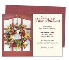 Moving Announcements And New Address Postcards Welcome Home Wreath Printable Weve Moved Card Template