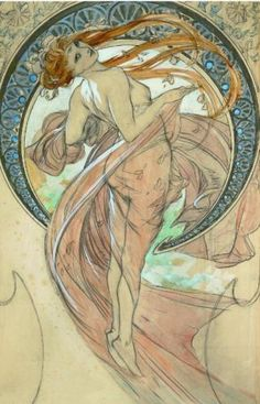 Study For La Danse Canvas Artwork by Alphonse Mucha, Illustration Art Nouveau, Art Nouveau Poster, Art Nouveau Tattoo, Alphonse Mucha Art, Kunst Poster, Canvas Artwork, Oeuvre D'art, Vintage Art, Art History