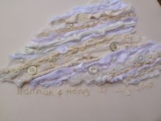 Wedding gift commission: hand knotted, stitched, beaded and embroidered.