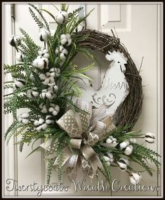 White rooster cotton boll greenery grapevine farmhouse wreath by twentycoats wreath creations 2017 – Artofit Christmas Wreaths To Make, Easter Wreaths, Holiday Wreaths, Christmas Decorations, Christmas Christmas, Christmas Ideas, Carillons Diy, Wreath Crafts, Wreath Bows