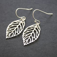 Silver Leaf Earrings by JewelryDeli on Etsy, $14.00 - to go with the necklace I pinned previously