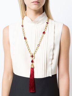 Oscar de la Renta tassel pendant necklace