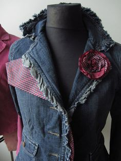 Upcycled Jean Jacket detailed with a Mans Necktie / Flower Brooch / Women Outerwear Jackets Blazers / Upcycled Clothing