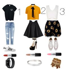 """Untitled #17"" by lilasdance on Polyvore featuring WithChic, Elvi, BCBGMAXAZRIA, Miss Selfridge, Paper London, adidas, Prada, Converse and MAC Cosmetics"