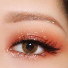 Korean Makeup Look, Asian Eye Makeup, Colorful Eye Makeup, Natural Eye Makeup, Peach Makeup Look, Korean Makeup Tips, Korean Makeup Tutorials, Kawaii Makeup, Cute Makeup