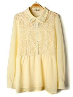 apricot long sleeve hollow out lace chiffon dress
