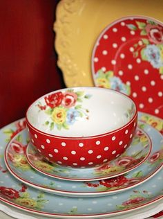 Sweet polka dot red bowl