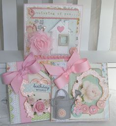 All Occasion Shabby Chic Handmade Card Set by PaperBistro on Etsy