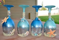 These are so cute! I love beach decor and these would fit right in!  Find out how to make them here http://www.thekeeperofthecheerios.com/2015/04/ocean-and-sea-wine-glasses.html?m=1   Find more great post on my page herewww.facebook.com/theresa.lancaster-zink