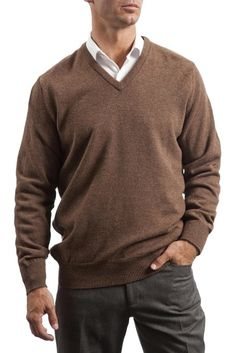 Great and British Knitwear Men's Lambswool Plain V Neck Sweater Made In Scotland at Amazon Men's Clothing store: Pullover Sweaters