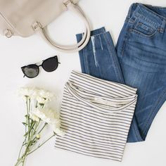 Spring essentials — a striped tee, cropped denim, and some fresh flowers!