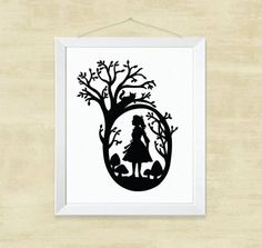 Alice Asked The Cat Silhouette Paper Cut Silhouette от CaryCanary