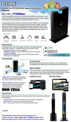 D-Link Wireless AC1750 Dual Band Gigabit Cloud Router DIR-865L