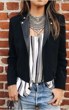#sincerelyjules #spring #summer #besties |Dylanlex Necklace + Black Crop Jacket + Stripes