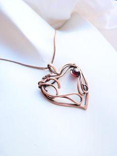 Cpecial order copper pendant heart with garnet rhodolite