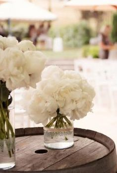 White peonies in outdoor country wedding.