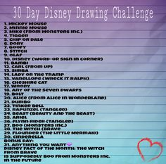 30 Day Disney Drawing Challenge