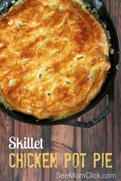 I'm addicted to cast iron skillet recipes. They're so good and so easy! This Skillet Chicken Pot Pie recipe is a family favorite. Everything in one pot, the perfect delicious, easy dinner recipe.