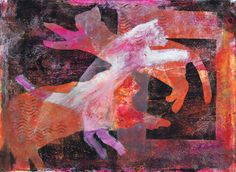 """""""Escape from Schroedinger's Box"""" cat art acrylic monotype/painting by Sharon Giles"""