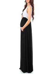 65610f096badd Women Maternity Clothes - POHOK Girls DressWomens Sleeveless Pregnant  Ruched Maxi Maternity Dress Mother Splice Sundress