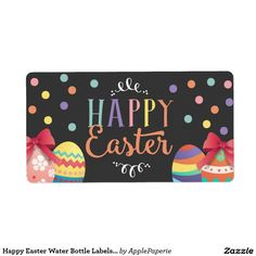 Happy Easter Water Bottle Labels, Easter Sticker Shipping Label, easter water bottle, happy easter water bottle, egg hunt water bottle, easter party, easter, easter egg hunt, easter celebration, easter party bottle, egg hunt, chalkboard, confetti