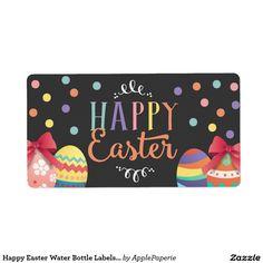 Happy Easter Water Bottle Labels, Easter Sticker Shipping Label, easter water bottle, happy easter water bottle, egg hunt water bottle, easter party, easter, easter egg hunt, easter celebration, easter party bottle, egg hunt, chalkboard, confetti