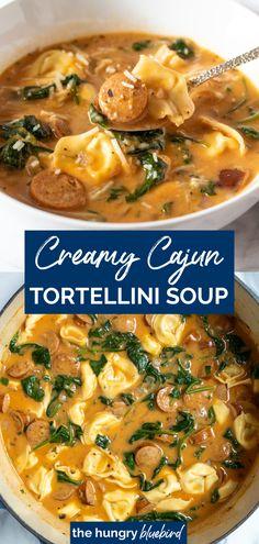 Creamy Tortellini Soup, Sausage Tortellini Soup, Tortellini Recipes, Sausage Soup, Spicy Sausage, Pasta Recipes, Soup Recipes, Yummy Recipes