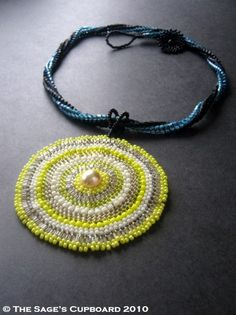 Harvest Moon Necklace. Yellow Beaded Pendant on a Midnight Blue Rope