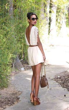 Open back cream lace romper. Brown chunky sandals. Leather belt - white romper! Resort wear. Stitch Fix Spring.Summer 2016