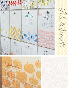 simple seasonal patterns. Letterpress calendar