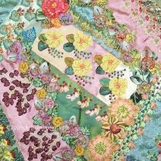 Crazy Embellishment Quilting Silk Ribbon Embroidery | ... - wall hanging with ribbon worked flowers and silk ribbon embroidery