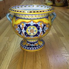 Deruta Italian Ceramic Two-Handled Tureen or Urn - handmade, hand painted pottery from Deruta, Italy - bright yellows and cobalt blues make this footed urn a vibrant addition to your home decor. Found at the Italian Pottery Outlet in Santa Barbara CA