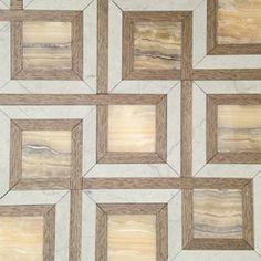 Lina Wrap Tile - Polished Cebrino Onyx, Honed Storm Limestone and Nougat Wood.