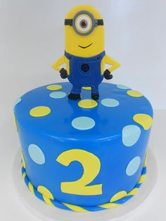 Minions Birthday Cake.  Just need to add a 7 on the end of that 2 and it's perfect!