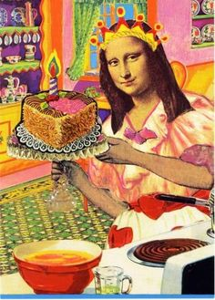 Mona Lisa cake - mc, rw, kg, ae Happy Birthday Quotes, Happy Birthday Images, Happy Birthday Greetings, Birthday Messages, Birthday Pictures, Humor Birthday, Sister Birthday, Happy Birthday Artist, Birthday Humorous