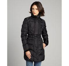 Sam Edelman black down filled quilted ''Baxton Lorissa'' studded three quarter coat