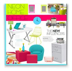 """""""Neon Home Office"""" by anitadz ❤ liked on Polyvore featuring interior, interiors, interior design, home, home decor, interior decorating, Brink & Campman, Three By Three, CB2 and Crate and Barrel"""