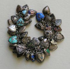 Vintage Forty Two Heart Sterling Heart Six Charm Bracelet 1,195.00