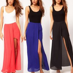 Fashionable Boho Retro Women Chiffon Skirt Open Side Split Solid Long Maxi Skirt