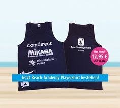 Sichere dir jetzt eines unserer atmungsaktiven Playershirts der Beach-Academy! #beachvolleyball #sale #shop #beachacademy #playershirt Beach Volleyball, Beach Wear, Sport, Tank Man, Mens Tops, How To Wear, Women, Deporte, Women's