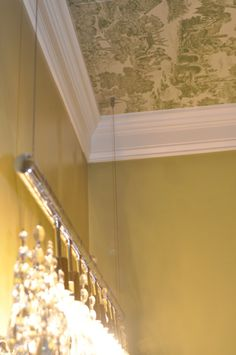 """great idea! """"A powder room is the perfect place to wallpaper the ceiling."""""""